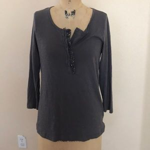 J Crew Gray Sequin Neck Tee M